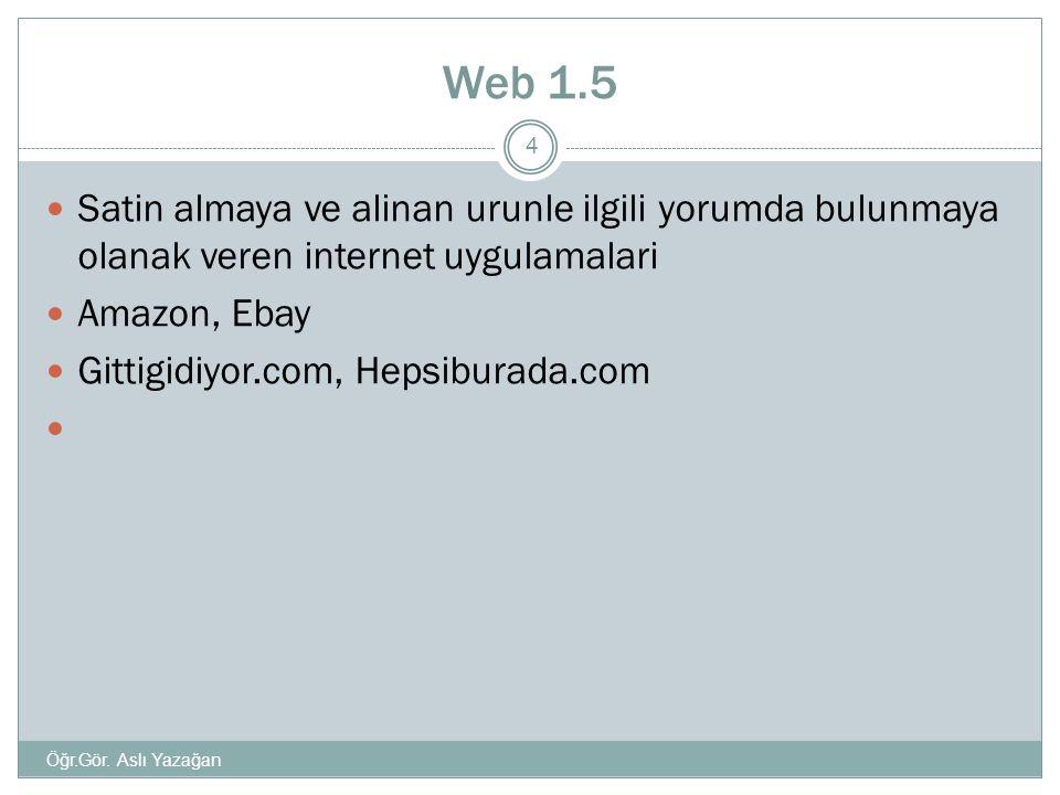 Web 1.5  Satin almaya ve alinan urunle ilgili yorumda bulunmaya olanak veren internet uygulamalari  Amazon, Ebay  Gittigidiyor.com, Hepsiburada.com