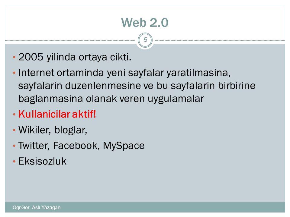 Web 2.0 • 2005 yilinda ortaya cikti. • Internet ortaminda yeni sayfalar yaratilmasina, sayfalarin duzenlenmesine ve bu sayfalarin birbirine baglanmasi