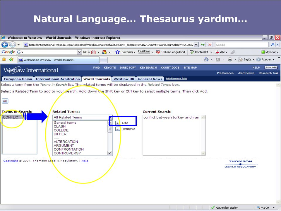 Natural Language… Thesaurus yardımı…