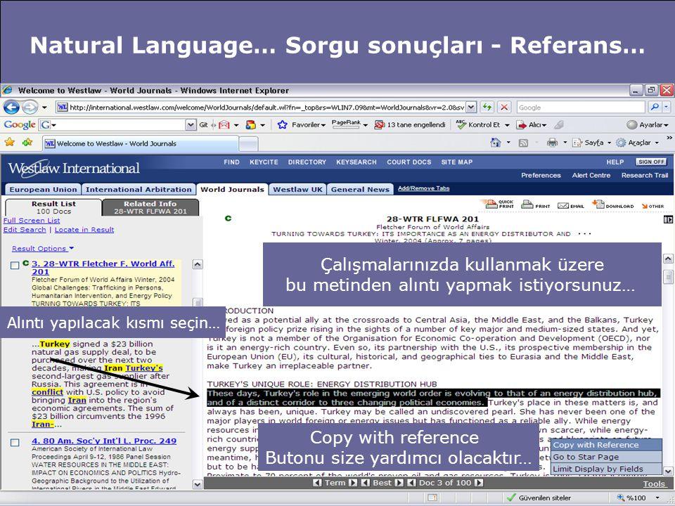 Natural Language… Sorgu sonuçları - Referans… Çalışmalarınızda kullanmak üzere bu metinden alıntı yapmak istiyorsunuz… Alıntı yapılacak kısmı seçin… C