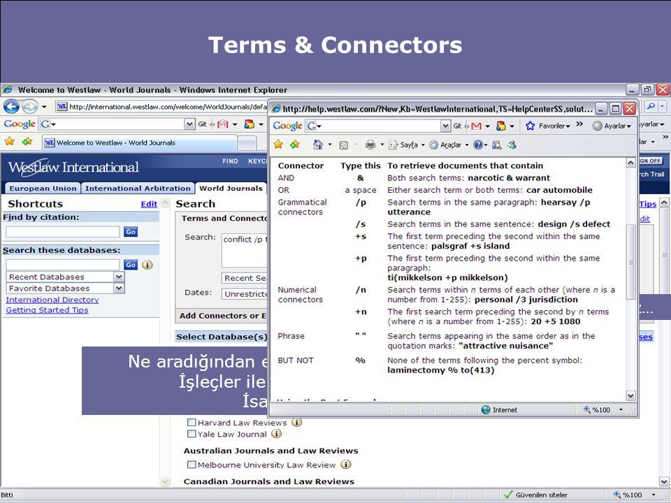 Terms & Connectors Ne aradığından emin kullanıcılar için büyük kolaylık… İşleçler ile sorgu sözcükleri birleştirilerek İsabet oranını yükseltin… İşleç