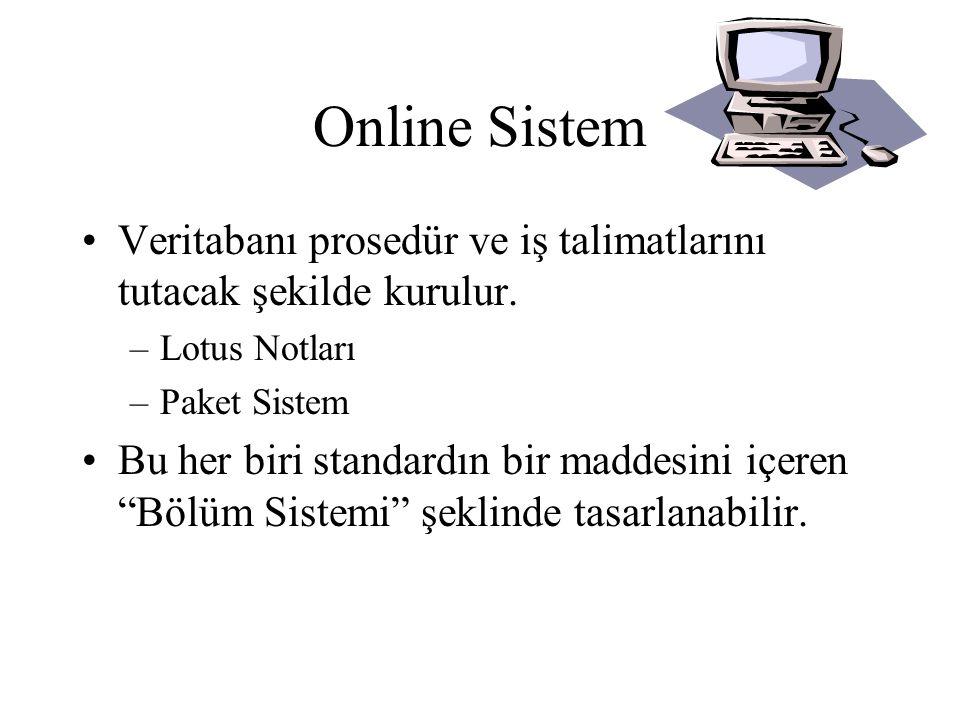 Online System •Prosedür ve İş Talimatları sisteme girilir ya da eğer mevcutsa basılı sistemin elektronik kopyasından yüklenebilir.