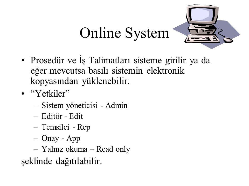 Online System •Editörler prosedür ya da iş talimatlarını yazarlar.