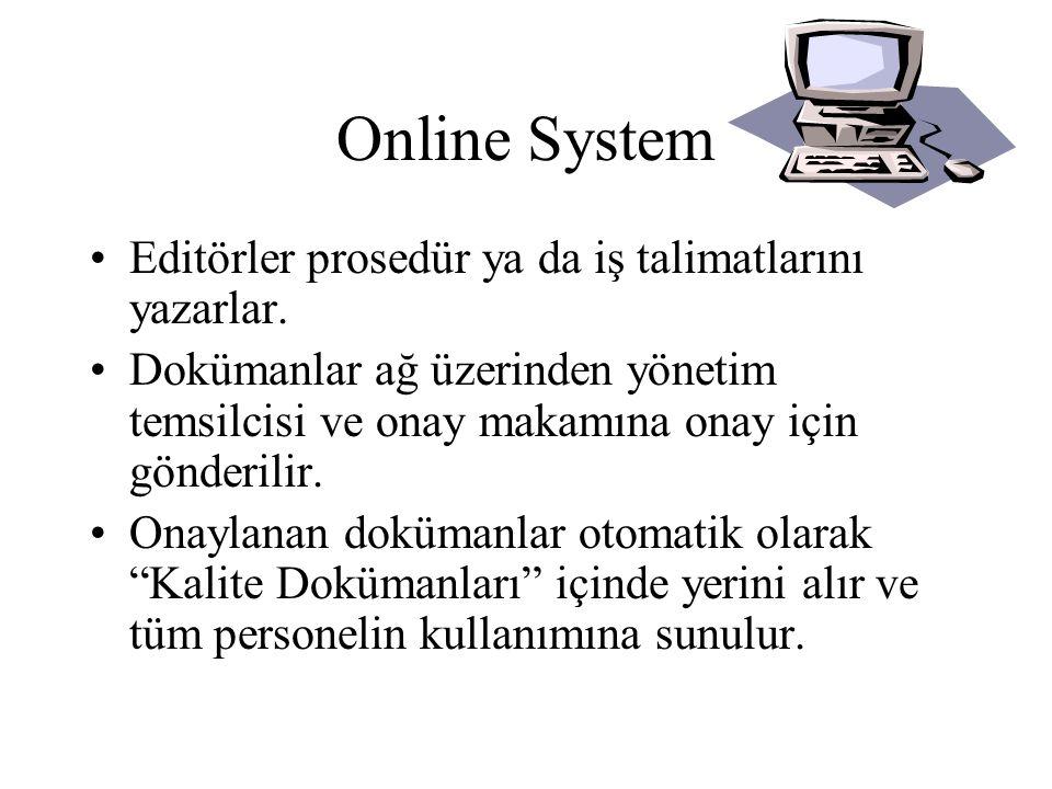 Online System •Dokümanlar ekranda görülebilir ya da çıktıları alınabilir •Çıktısı alınan dokümanlar Gün Maddesi ile kontrol edilirler.