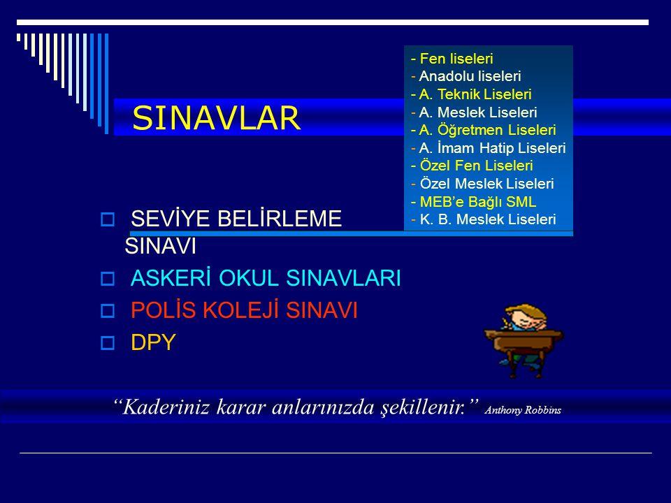 SINAVLAR  SEVİYE BELİRLEME SINAVI  ASKERİ OKUL SINAVLARI  POLİS KOLEJİ SINAVI  DPY HAZİRAN - Fen liseleri - Anadolu liseleri - A. Teknik Liseleri