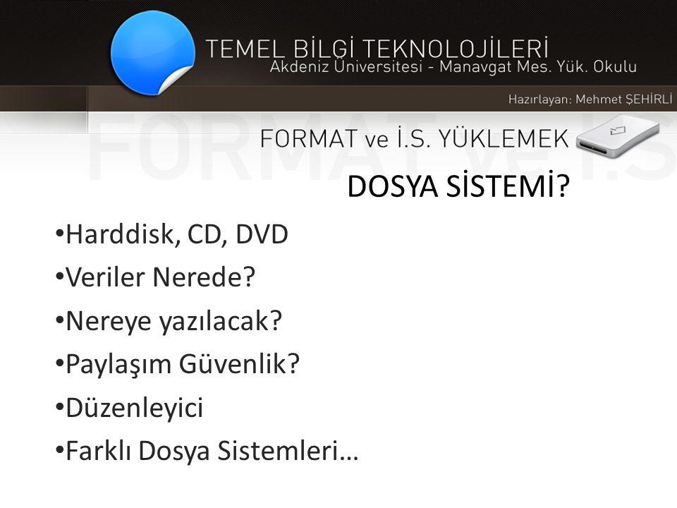 DOSYA SİSTEMİ? • Harddisk, CD, DVD • Veriler Nerede? • Nereye yazılacak? • Paylaşım Güvenlik? • Düzenleyici • Farklı Dosya Sistemleri…