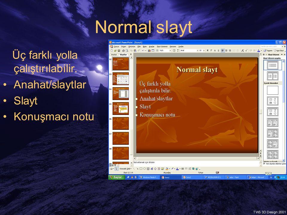Normal slayt Üç farklı yolla çalıştırılabilir. •Anahat/slaytlar •Slayt •Konuşmacı notu