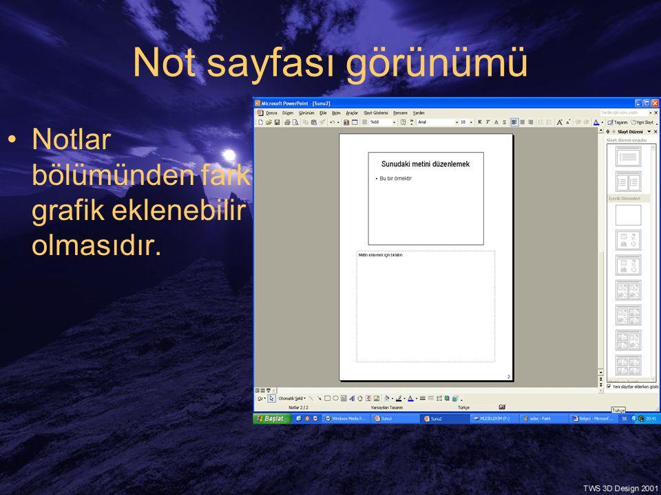Not sayfası görünümü •Notlar bölümünden farkı grafik eklenebilir olmasıdır.
