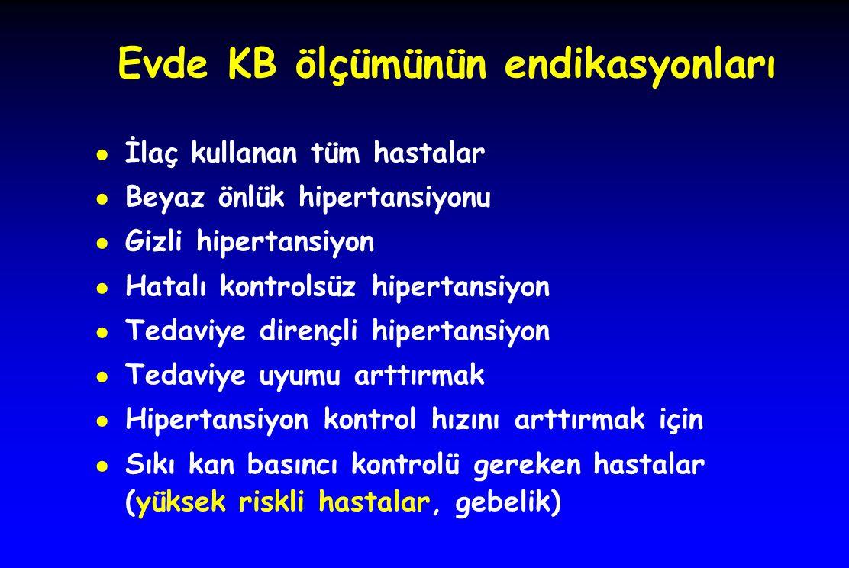 Evde KB ölçümünün endikasyonları ● İlaç kullanan tüm hastalar ● Beyaz önlük hipertansiyonu ● Gizli hipertansiyon ● Hatalı kontrolsüz hipertansiyon ● T