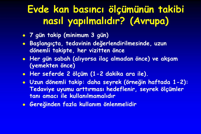 Evde kan basıncı ölçümünün takibi nasıl yapılmalıdır? (Avrupa) ● 7 gün takip (minimum 3 gün) ● Başlangıçta, tedavinin değerlendirilmesinde, uzun dönem