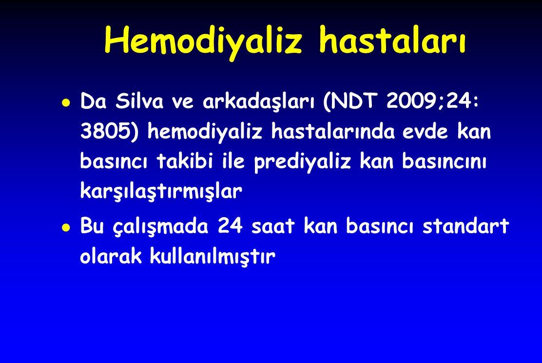 Hemodiyaliz hastaları ● Da Silva ve arkadaşları (NDT 2009;24: 3805) hemodiyaliz hastalarında evde kan basıncı takibi ile prediyaliz kan basıncını karş