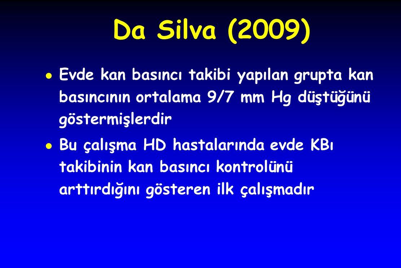 Da Silva (2009) ● Evde kan basıncı takibi yapılan grupta kan basıncının ortalama 9/7 mm Hg düştüğünü göstermişlerdir ● Bu çalışma HD hastalarında evde