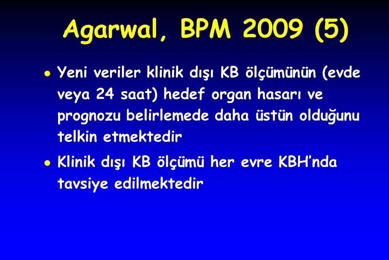 Agarwal, BPM 2009 (5) ● Yeni veriler klinik dışı KB ölçümünün (evde veya 24 saat) hedef organ hasarı ve prognozu belirlemede daha üstün olduğunu telki