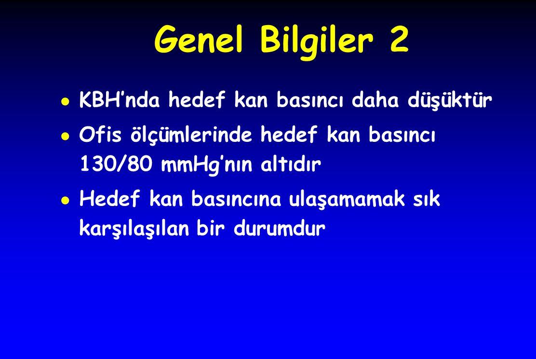 Genel Bilgiler 2 ● KBH'nda hedef kan basıncı daha düşüktür ● Ofis ölçümlerinde hedef kan basıncı 130/80 mmHg'nın altıdır ● Hedef kan basıncına ulaşama