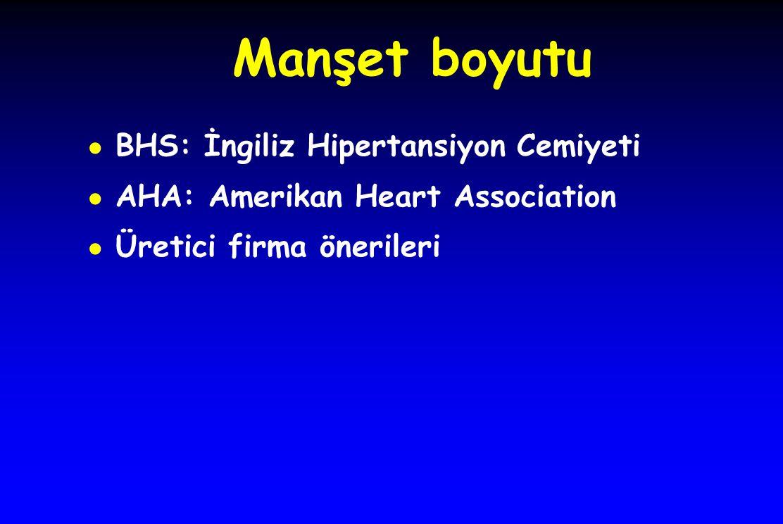 Manşet boyutu ● BHS: İngiliz Hipertansiyon Cemiyeti ● AHA: Amerikan Heart Association ● Üretici firma önerileri