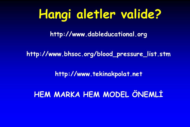 Hangi aletler valide? http://www.dableducational.org http://www.bhsoc.org/blood_pressure_list.stm http://www.tekinakpolat.net HEM MARKA HEM MODEL ÖNEM