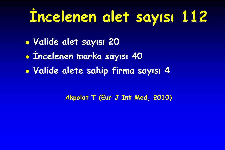 İncelenen alet sayısı 112 ● Valide alet sayısı 20 ● İncelenen marka sayısı 40 ● Valide alete sahip firma sayısı 4 Akpolat T (Eur J Int Med, 2010)