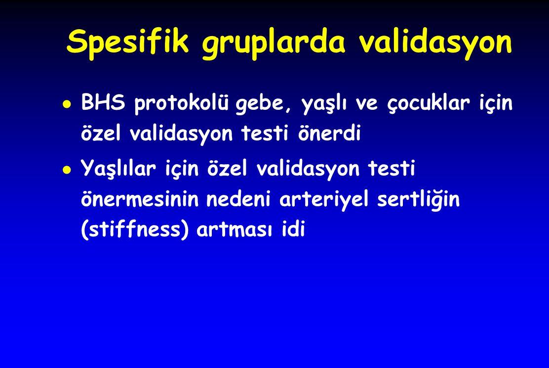 Spesifik gruplarda validasyon ● BHS protokolü gebe, yaşlı ve çocuklar için özel validasyon testi önerdi ● Yaşlılar için özel validasyon testi önermesi