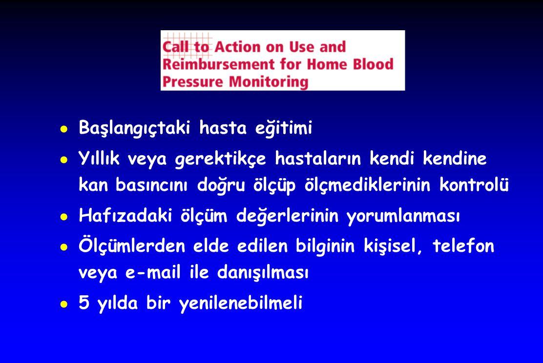 ● Başlangıçtaki hasta eğitimi ● Yıllık veya gerektikçe hastaların kendi kendine kan basıncını doğru ölçüp ölçmediklerinin kontrolü ● Hafızadaki ölçüm