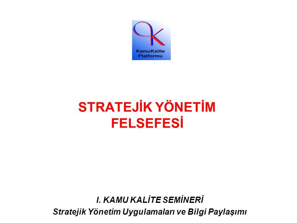STRATEJİK YÖNETİM FELSEFESİ I. KAMU KALİTE SEMİNERİ Stratejik Yönetim Uygulamaları ve Bilgi Paylaşımı