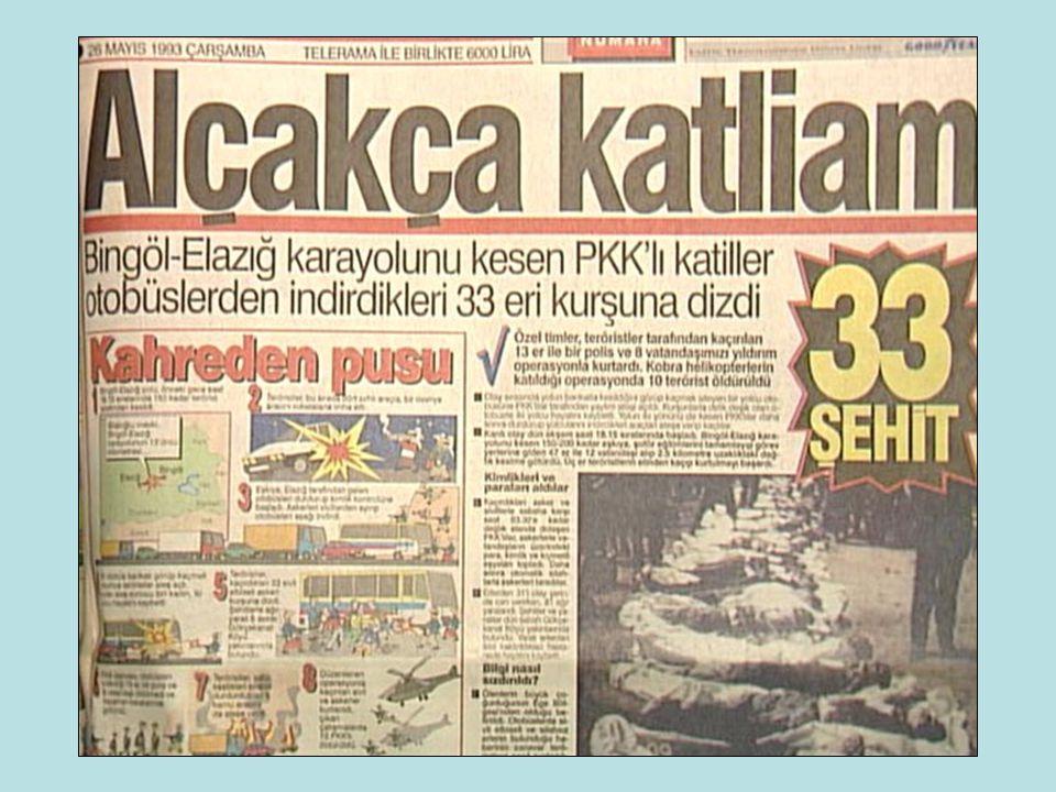 LÜTFEN DİYEREK OKUMANIZI RİCA ETTİĞİM BU İSİMLER, 24 MAYIS 1993 GÜNÜ ÜZERLERİNE 1570 ADET KELEŞ MERMİSİ SIKILARAK (HER BİRİNE ORTALAMA 50 MERMİ) KATLEDİLEN, 33 SİLAHSIZ 20 YAŞLARINDA GENCECİK VATAN EVLATLARININ AD VE SOYADLARIDIR.