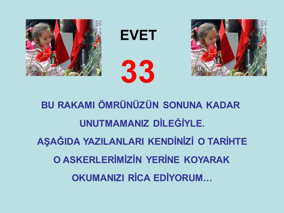 EVET 33 BU RAKAMI ÖMRÜNÜZÜN SONUNA KADAR UNUTMAMANIZ DİLEĞİYLE. AŞAĞIDA YAZILANLARI KENDİNİZİ O TARİHTE O ASKERLERİMİZİN YERİNE KOYARAK OKUMANIZI RİCA