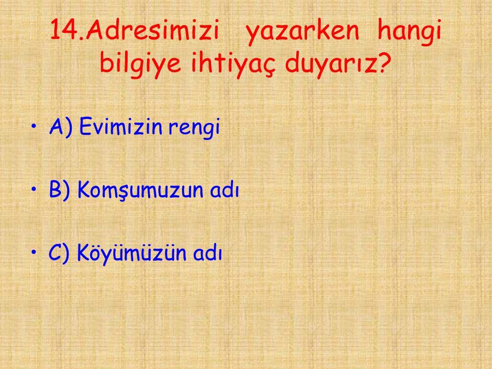 14.Adresimizi yazarken hangi bilgiye ihtiyaç duyarız? •A) Evimizin rengi •B) Komşumuzun adı •C) Köyümüzün adı