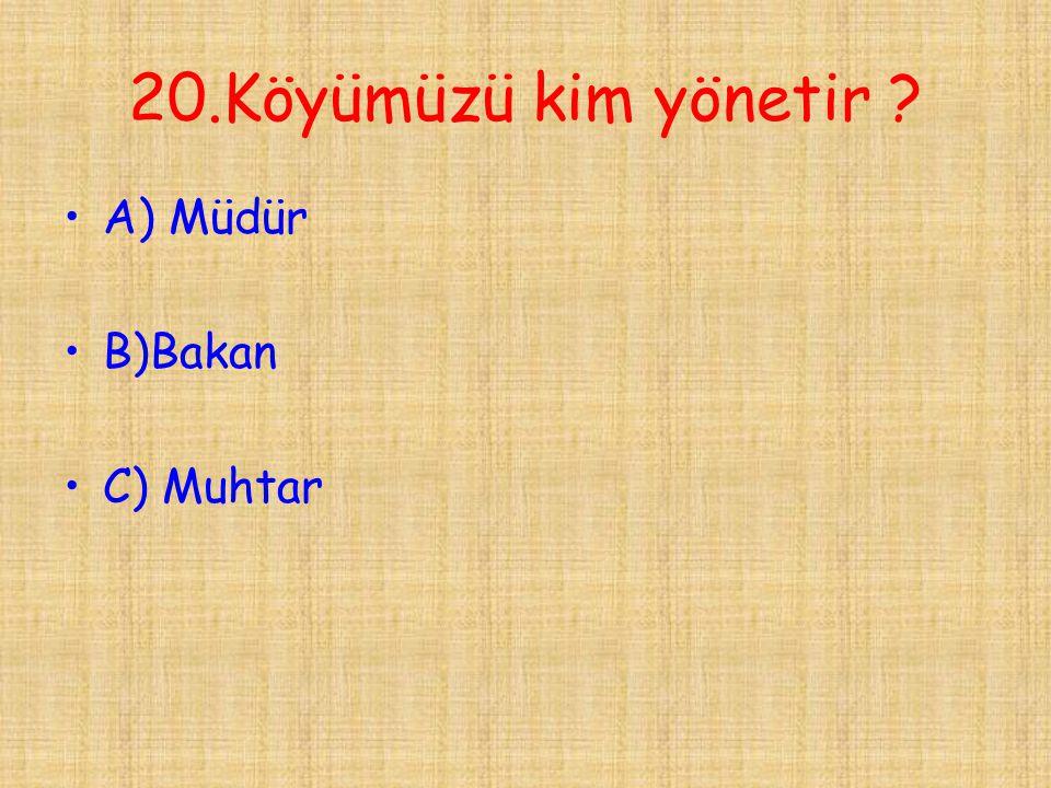 20.Köyümüzü kim yönetir ? •A) Müdür •B)Bakan •C) Muhtar