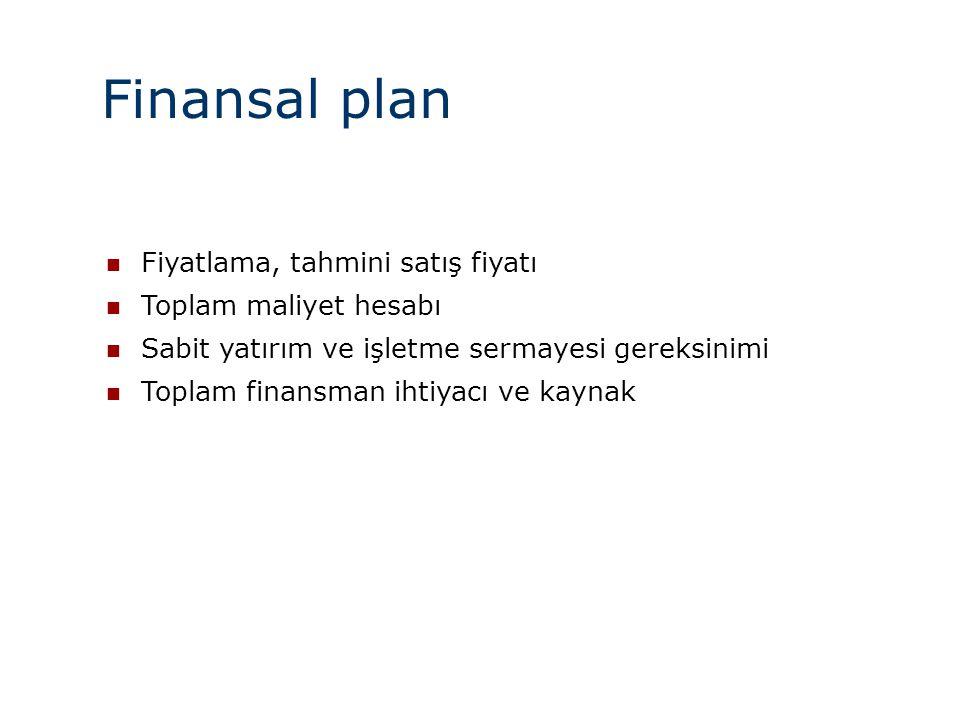 Finansal plan  Fiyatlama, tahmini satış fiyatı  Toplam maliyet hesabı  Sabit yatırım ve işletme sermayesi gereksinimi  Toplam finansman ihtiyacı v