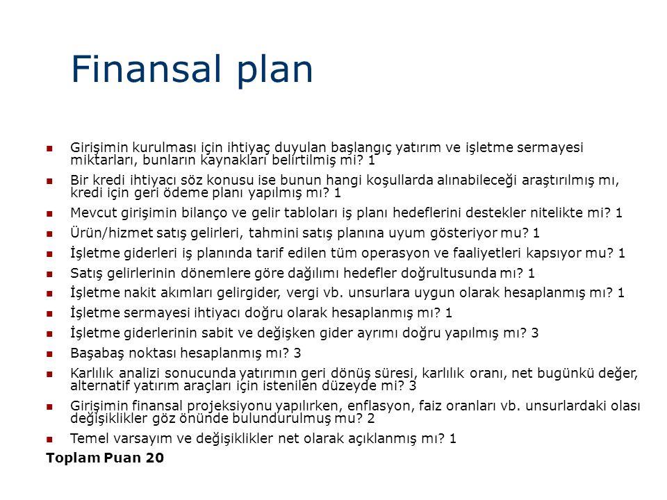 Finansal plan  Girişimin kurulması için ihtiyaç duyulan başlangıç yatırım ve işletme sermayesi miktarları, bunların kaynakları belirtilmiş mi.