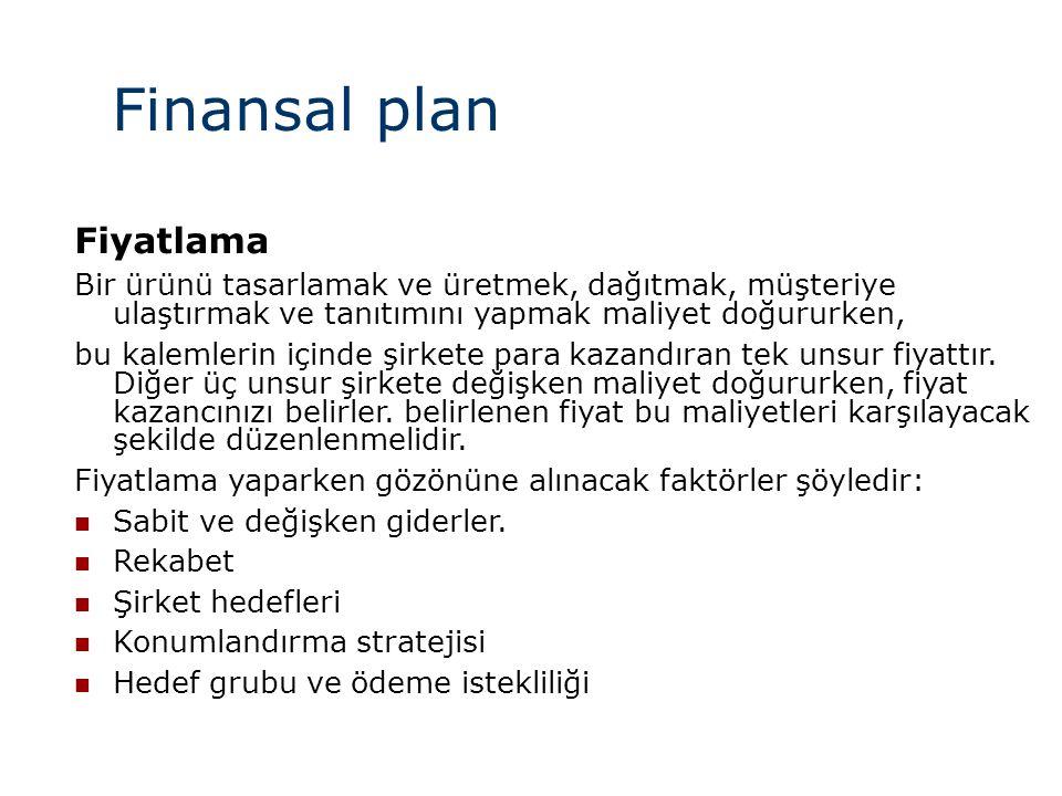 Finansal plan Fiyatlama Bir ürünü tasarlamak ve üretmek, dağıtmak, müşteriye ulaştırmak ve tanıtımını yapmak maliyet doğururken, bu kalemlerin içinde