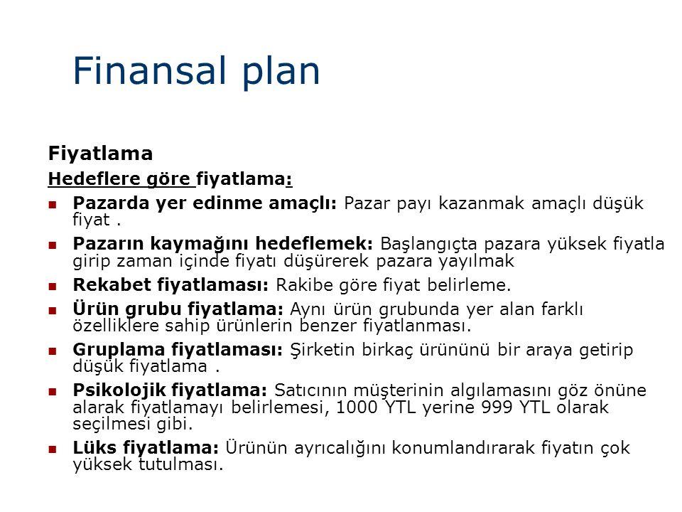 Finansal plan Fiyatlama Hedeflere göre fiyatlama:  Pazarda yer edinme amaçlı: Pazar payı kazanmak amaçlı düşük fiyat.