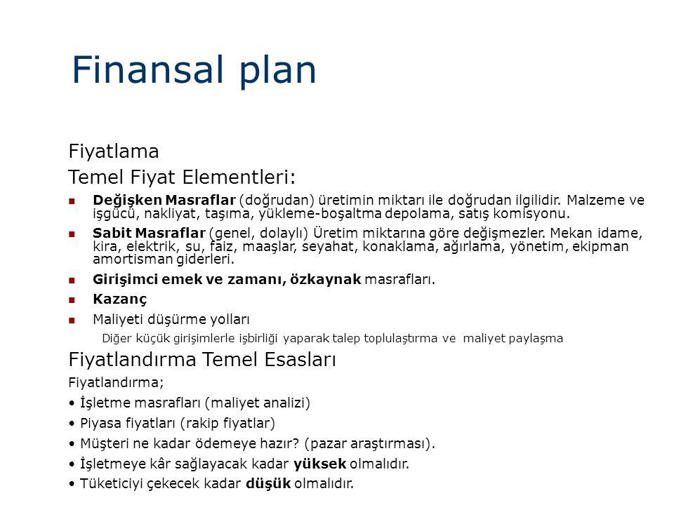 Finansal plan Fiyatlama Temel Fiyat Elementleri:  Değişken Masraflar (doğrudan) üretimin miktarı ile doğrudan ilgilidir. Malzeme ve işgücü, nakliyat,