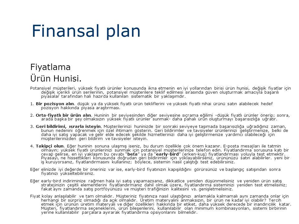 Finansal plan Fiyatlama Ürün Hunisi.