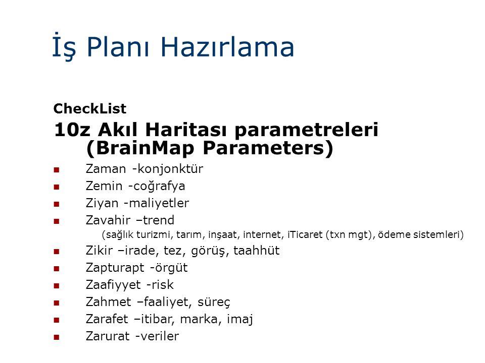 İş Planı Hazırlama CheckList 10z Akıl Haritası parametreleri (BrainMap Parameters)  Zaman -konjonktür  Zemin -coğrafya  Ziyan -maliyetler  Zavahir