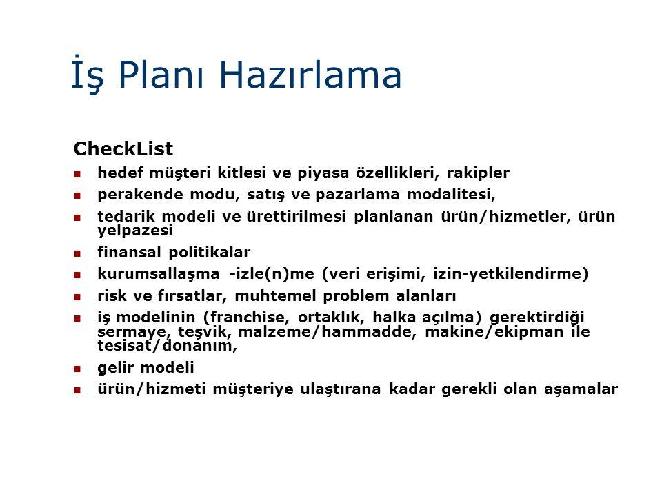 İş Planı Hazırlama CheckList  hedef müşteri kitlesi ve piyasa özellikleri, rakipler  perakende modu, satış ve pazarlama modalitesi,  tedarik modeli ve ürettirilmesi planlanan ürün/hizmetler, ürün yelpazesi  finansal politikalar  kurumsallaşma -izle(n)me (veri erişimi, izin-yetkilendirme)  risk ve fırsatlar, muhtemel problem alanları  iş modelinin (franchise, ortaklık, halka açılma) gerektirdiği sermaye, teşvik, malzeme/hammadde, makine/ekipman ile tesisat/donanım,  gelir modeli  ürün/hizmeti müşteriye ulaştırana kadar gerekli olan aşamalar