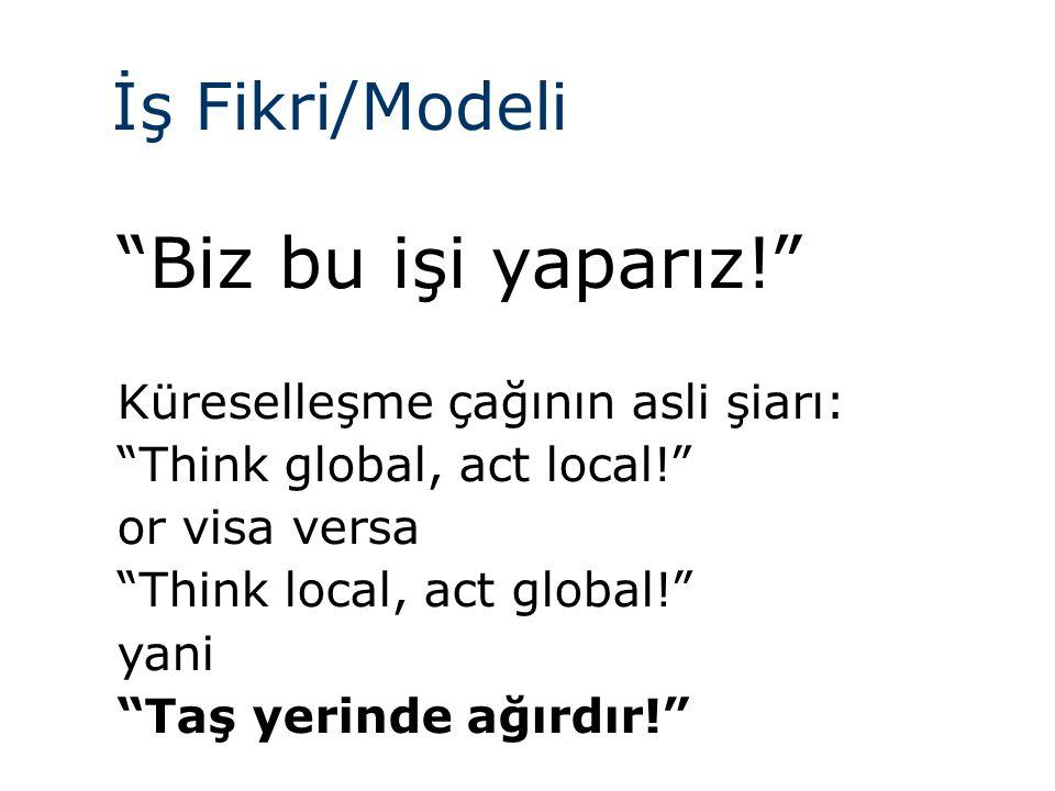 İş Fikri/Modeli Biz bu işi yaparız! Küreselleşme çağının asli şiarı: Think global, act local! or visa versa Think local, act global! yani Taş yerinde ağırdır!