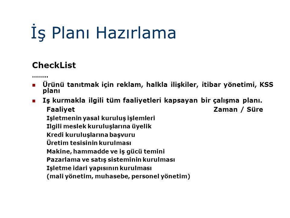 İş Planı Hazırlama CheckList ……..  Ürünü tanıtmak için reklam, halkla ilişkiler, itibar yönetimi, KSS planı  Iş kurmakla ilgili tüm faaliyetleri kap