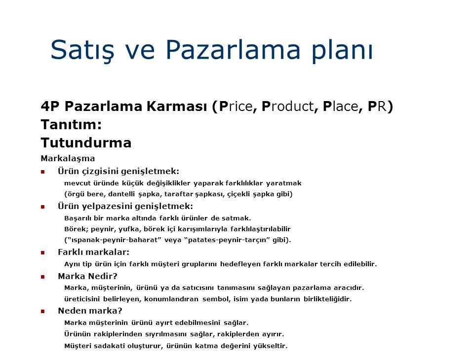 Satış ve Pazarlama planı 4P Pazarlama Karması (Price, Product, Place, PR) Tanıtım: Tutundurma Markalaşma  Ürün çizgisini genişletmek: mevcut üründe k