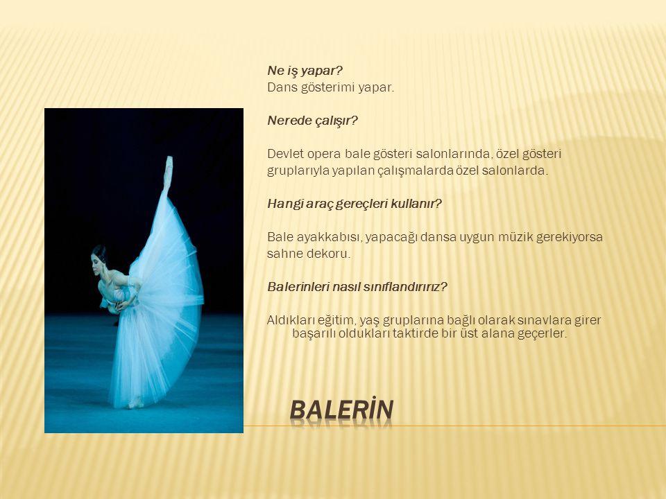 Ne iş yapar? Dans gösterimi yapar. Nerede çalışır? Devlet opera bale gösteri salonlarında, özel gösteri gruplarıyla yapılan çalışmalarda özel salonlar