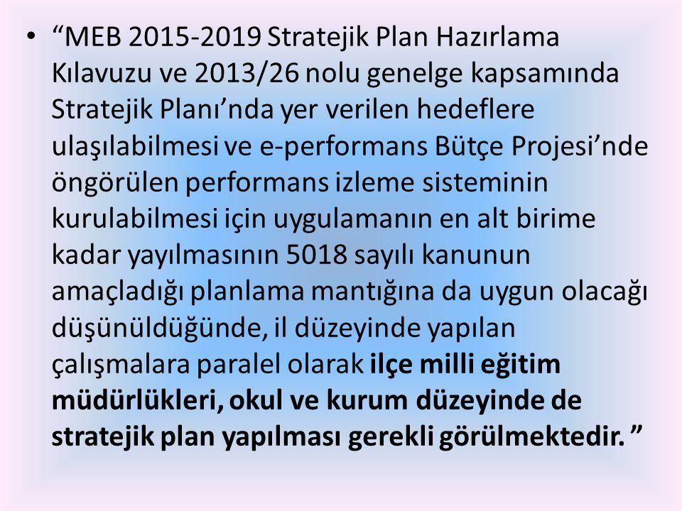"""• """"MEB 2015-2019 Stratejik Plan Hazırlama Kılavuzu ve 2013/26 nolu genelge kapsamında Stratejik Planı'nda yer verilen hedeflere ulaşılabilmesi ve e-pe"""