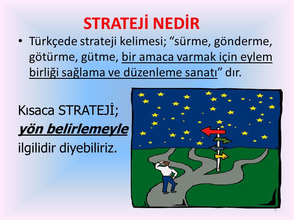 """3 • Türkçede strateji kelimesi; """"sürme, gönderme, götürme, gütme, bir amaca varmak için eylem birliği sağlama ve düzenleme sanatı"""" dır. Kısaca STRATEJ"""
