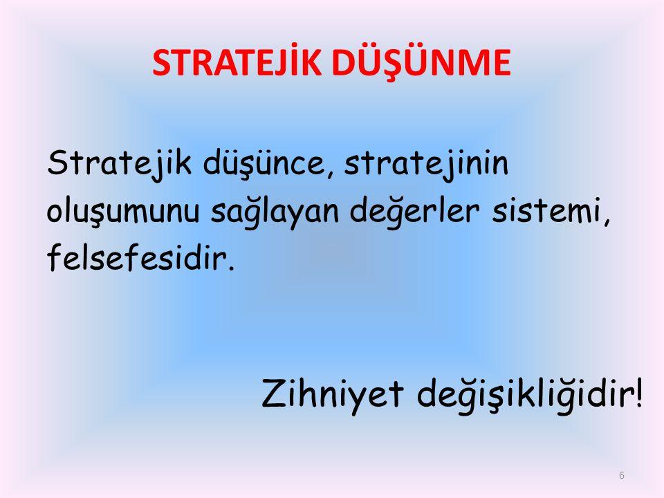 6 Stratejik düşünce, stratejinin oluşumunu sağlayan değerler sistemi, felsefesidir. Zihniyet değişikliğidir! STRATEJİK DÜŞÜNME