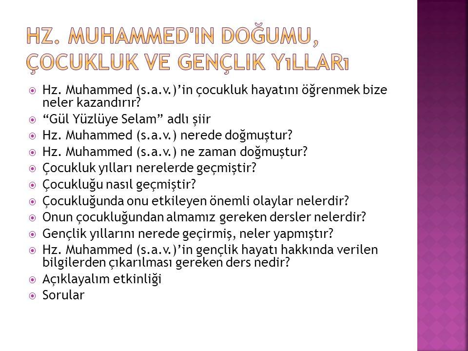 """ Hz. Muhammed (s.a.v.)'in çocukluk hayatını öğrenmek bize neler kazandırır?  """"Gül Yüzlüye Selam"""" adlı şiir  Hz. Muhammed (s.a.v.) nerede doğmuştur?"""