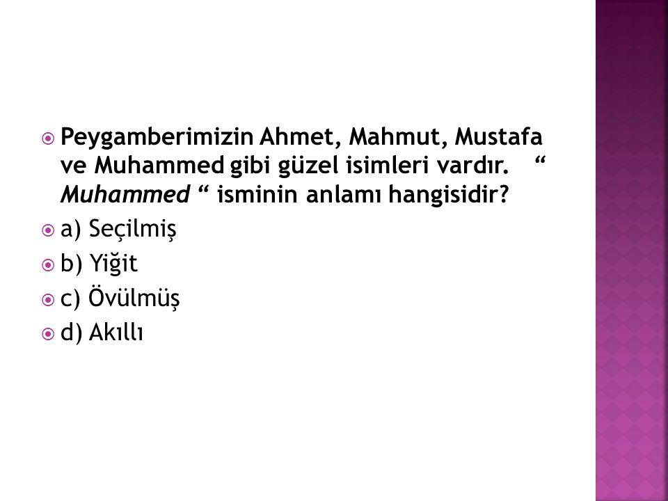 """ Peygamberimizin Ahmet, Mahmut, Mustafa ve Muhammed gibi güzel isimleri vardır. """" Muhammed """" isminin anlamı hangisidir?  a) Seçilmiş  b) Yiğit  c)"""