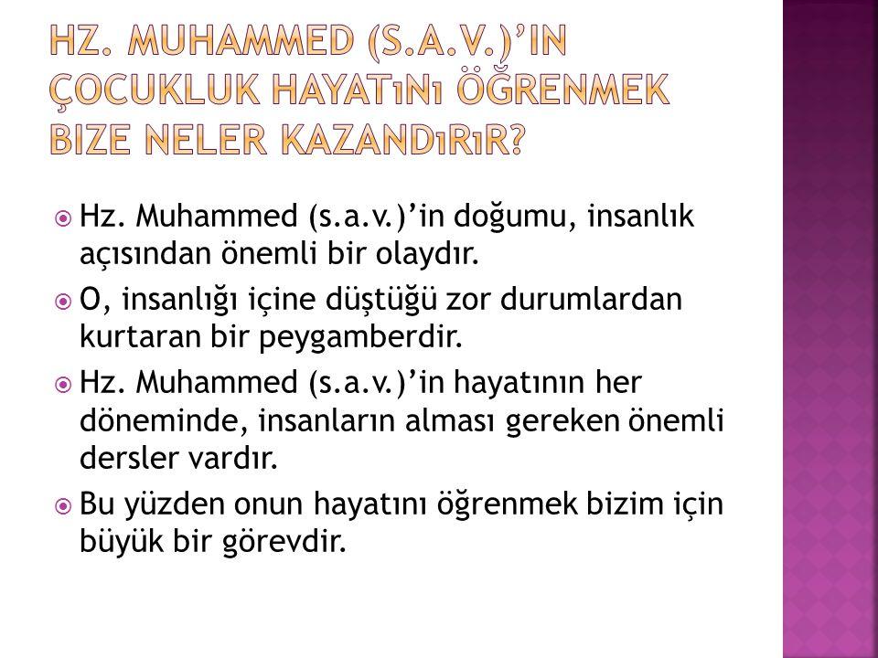  Hz. Muhammed (s.a.v.)'in doğumu, insanlık açısından önemli bir olaydır.  O, insanlığı içine düştüğü zor durumlardan kurtaran bir peygamberdir.  Hz