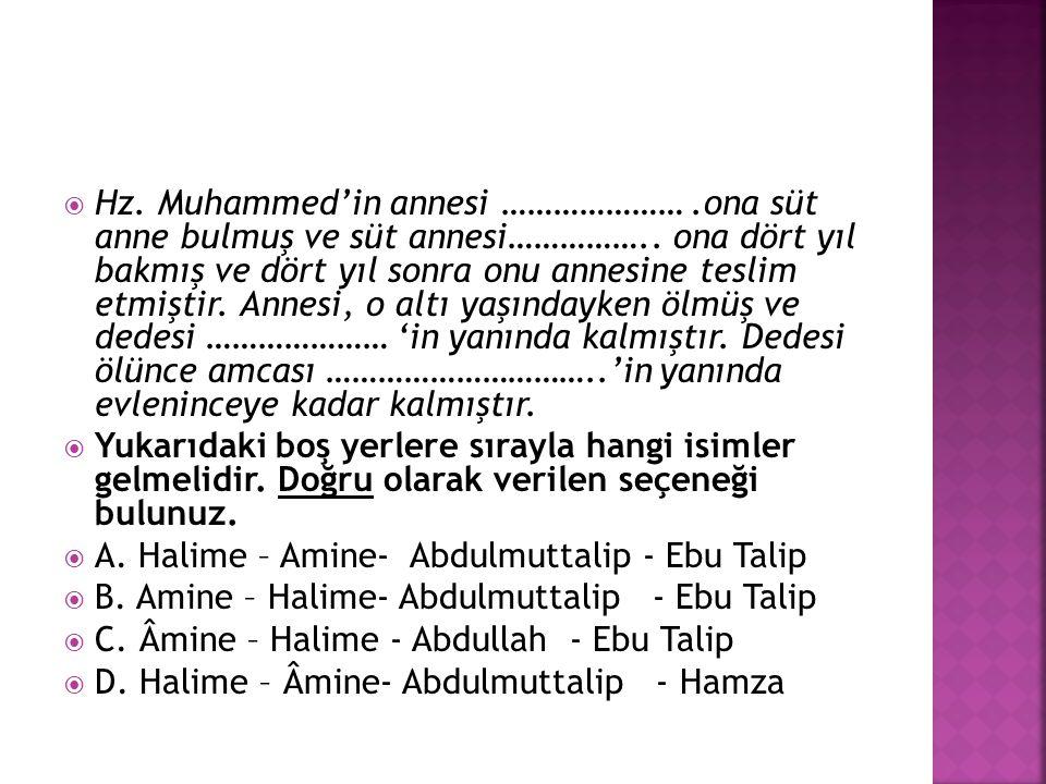  Hz. Muhammed'in annesi ………………….ona süt anne bulmuş ve süt annesi…………….. ona dört yıl bakmış ve dört yıl sonra onu annesine teslim etmiştir. Annesi,
