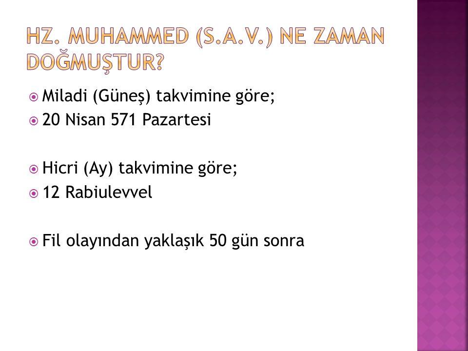  Hz.Muhammed nerede ve ne zaman doğmuştur.