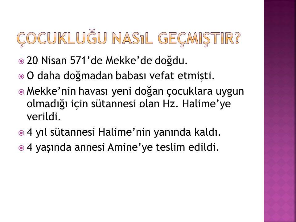  20 Nisan 571'de Mekke'de doğdu.  O daha doğmadan babası vefat etmişti.  Mekke'nin havası yeni doğan çocuklara uygun olmadığı için sütannesi olan H