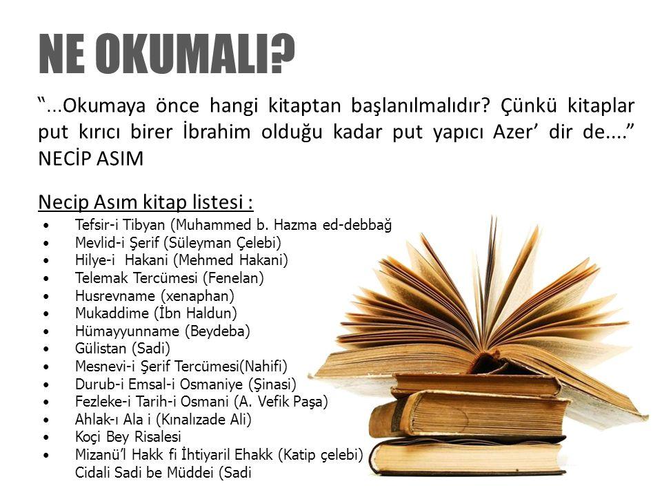 """""""… Okumaya önce hangi kitaptan başlanılmalıdır? Çünkü kitaplar put kırıcı birer İbrahim olduğu kadar put yapıcı Azer' dir de...."""" NECİP ASIM Necip Ası"""